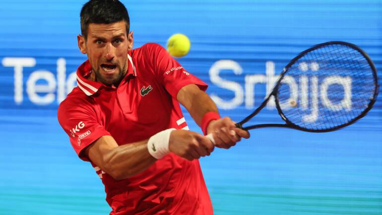 Novak on the court on Tuesday